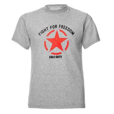 Official Unisex T Shirt Call of Duty WWII Infinate Warfare 'Freedom Star' Grey