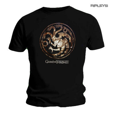 Official Unisex T Shirt Game of Thrones Black House Targaryen FOIL Sigil