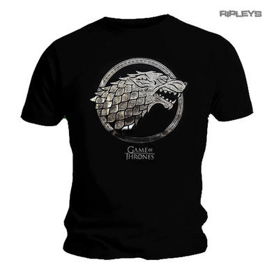 Official Unisex T Shirt Game of Thrones Black House Stark Wolf FOIL Sigil