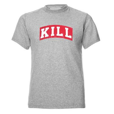 Official T Shirt KILL BRAND Light Grey Classic Pink Logo