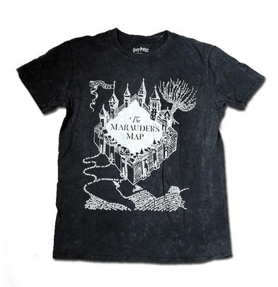 Official T Shirt Harry Potter 'The Marauders Map' Stone Wash