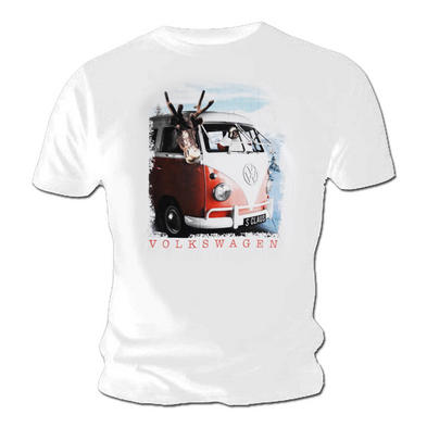 Official Unisex T Shirt VOLKSWAGEN Campervan White 'Claus' Christmas