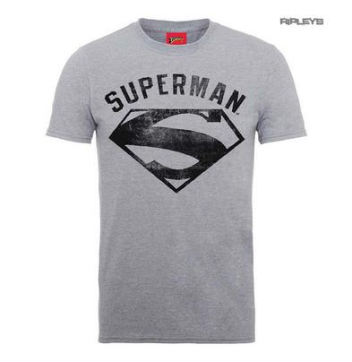 Official T Shirt DC Comics SUPERMAN Grey Vintage 'Spray' Logo