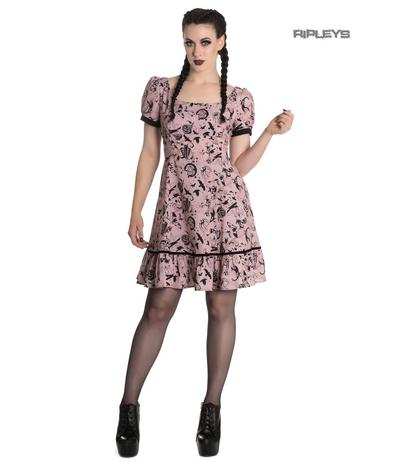 Hell Bunny Goth Punk Mini Dress MISS IVES Dusty Pink Witch Bats All Sizes