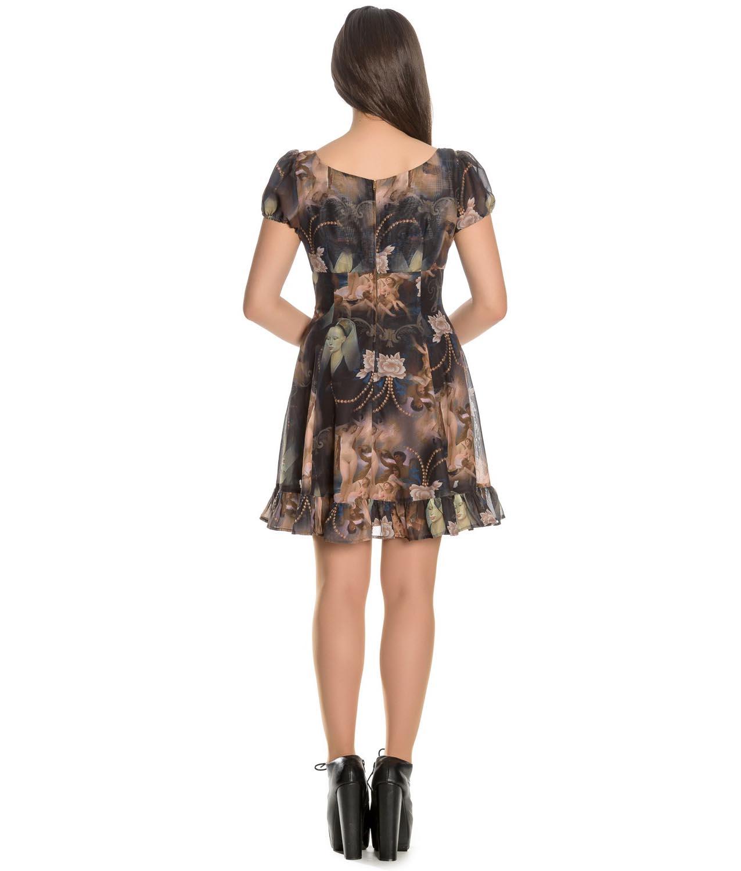Hell-Bunny-Goth-Punk-Black-Mini-Dress-RENAISSANCE-Donnatella-Painting thumbnail 5