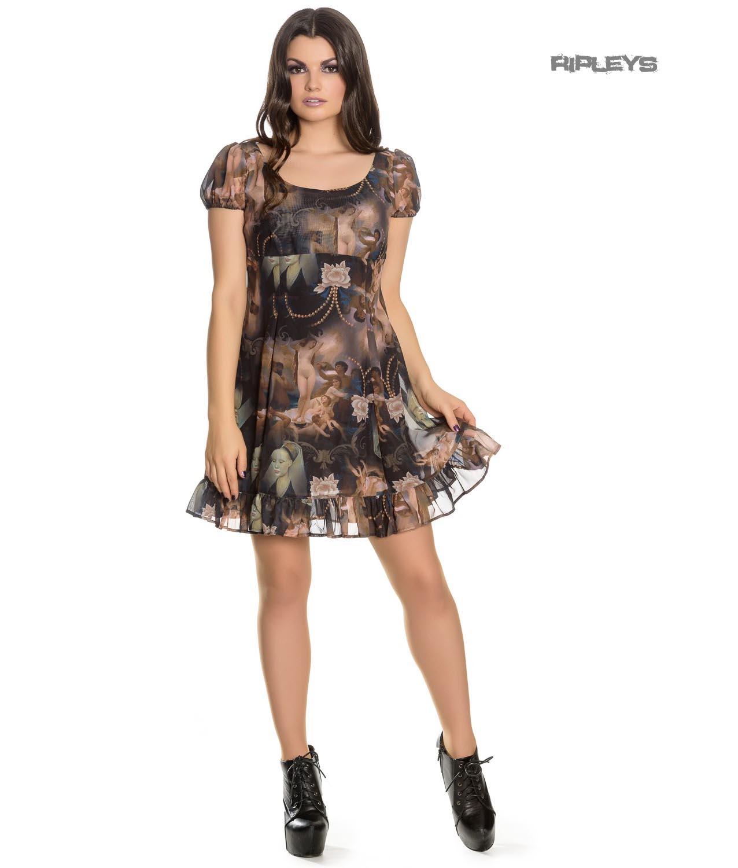 Hell-Bunny-Goth-Punk-Black-Mini-Dress-RENAISSANCE-Donnatella-Painting thumbnail 14