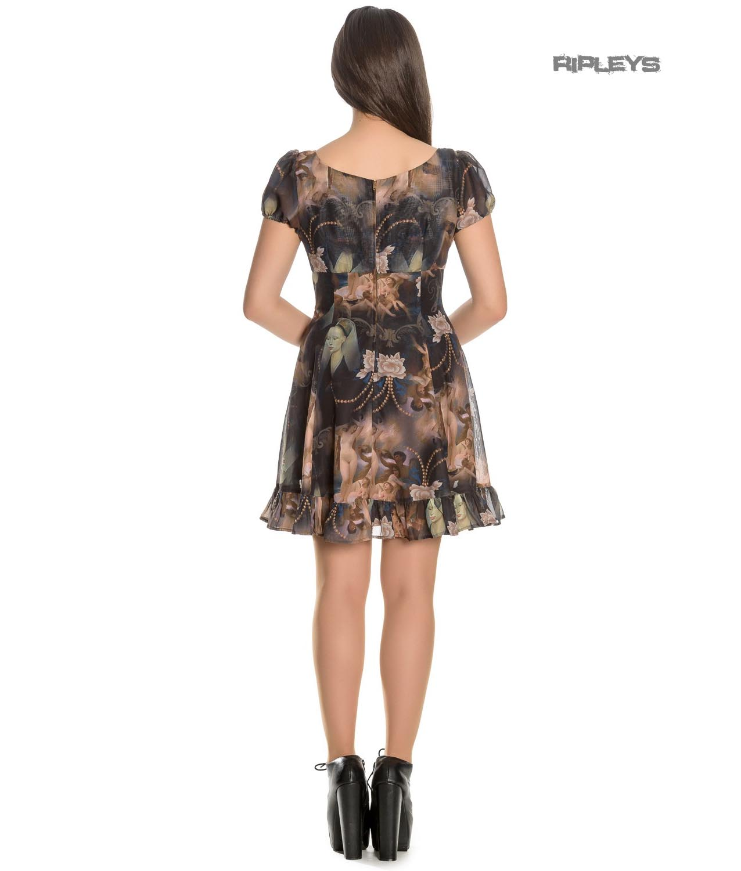 Hell-Bunny-Goth-Punk-Black-Mini-Dress-RENAISSANCE-Donnatella-Painting thumbnail 20