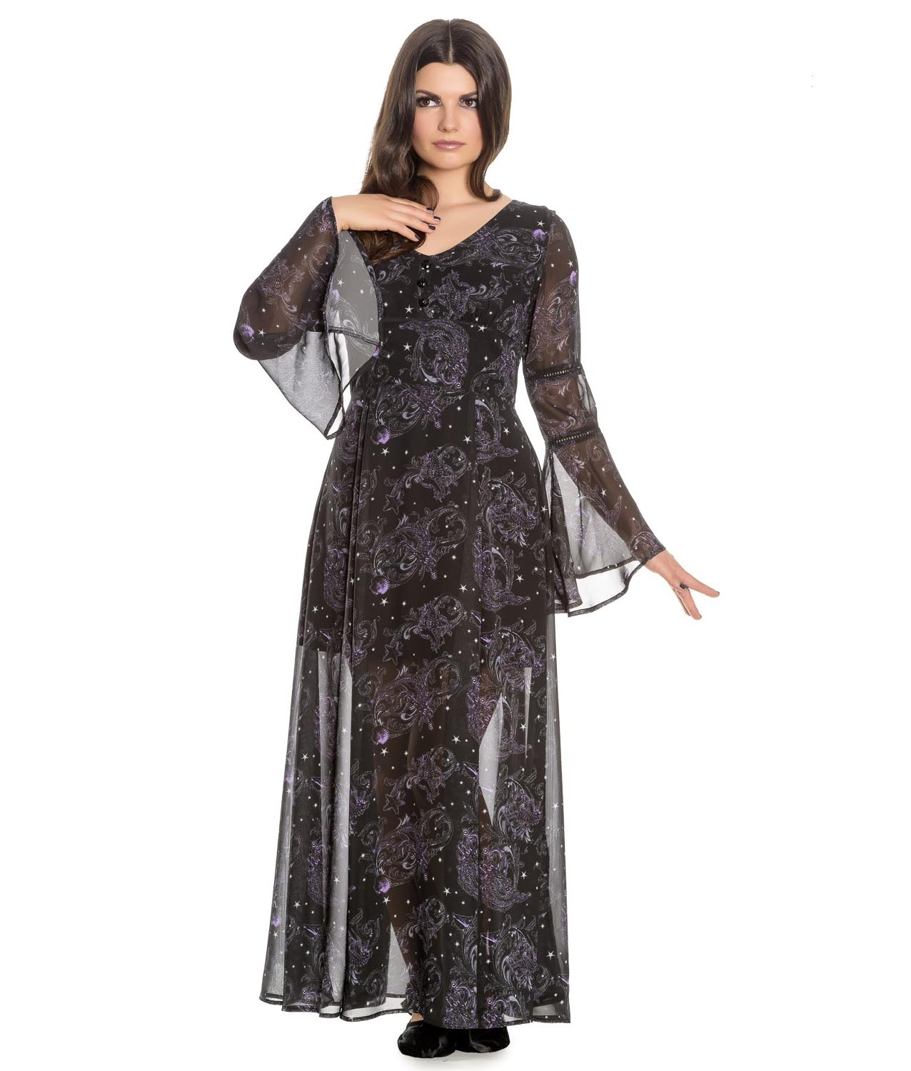 Hell-Bunny-Spin-Doctor-Goth-Maxi-Dress-DARK-SEA-Mermaid-Skeletons-All-Sizes thumbnail 15