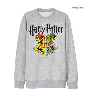 Official Sweatshirt Harry Potter Sweater Hogwarts CREST Houses Grey