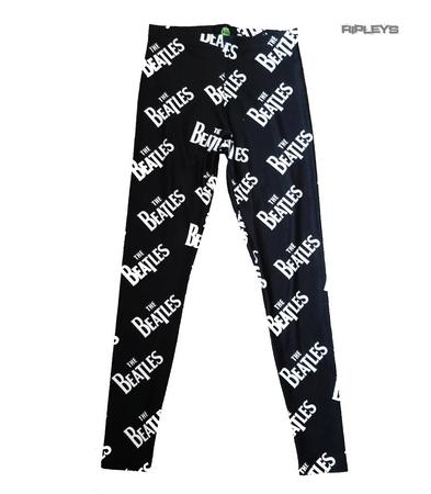 Official Ladies Black Leggings THE BEATLES All Over Logo Classic