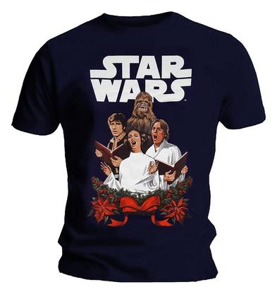 Official Unisex T Shirt STAR WARS Navy Blue Christmas 'Choir'