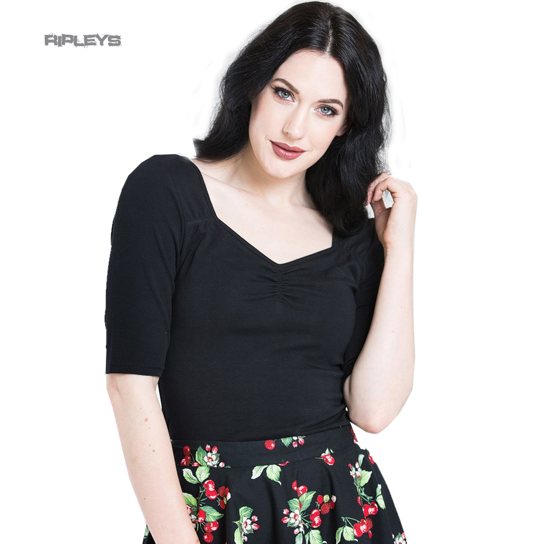 Hell-Bunny-Shirt-50s-Rockabilly-Top-PHILIPPA-Plain-Black-3-4-Sleeves-All-Sizes thumbnail 22