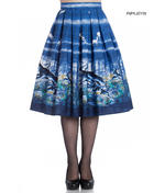 Hell Bunny 50s Pin Up Rockabilly Skirt MONTANA Blue Stag Deer All Sizes Thumbnail 1