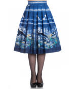 Hell Bunny 50s Pin Up Rockabilly Skirt MONTANA Blue Stag Deer All Sizes Thumbnail 2
