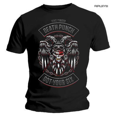 Official T Shirt Five Finger Death Punch Got Your Six BIKER Badge All Sizes