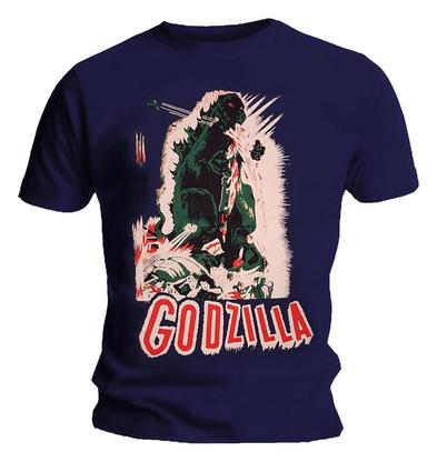 Official T Shirt Navy Blue GODZILLA Original Retro Movie