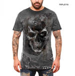 ALCHEMY Gothic Unisex T Shirt Grunge Distressed Skull 'Pole Axed Spray' All Size Thumbnail 1