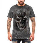 ALCHEMY Gothic Unisex T Shirt Grunge Distressed Skull 'Pole Axed Spray' All Size Thumbnail 2