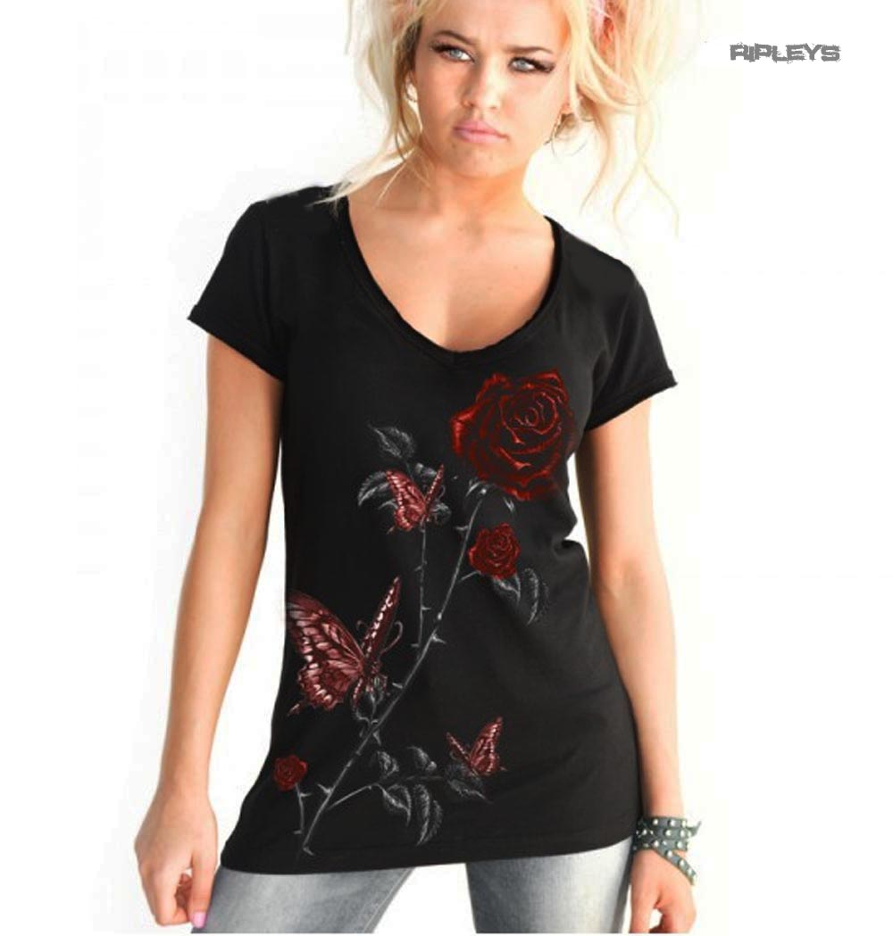 ALCHEMY-Ladies-V-Neck-T-Shirt-Top-Gothic-Red-039-Butterfly-Roses-039-All-Sizes thumbnail 6