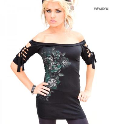 ALCHEMY Ladies Slashed T Shirt Top Gothic 'Dies Israe' Teal Roses All Sizes Preview