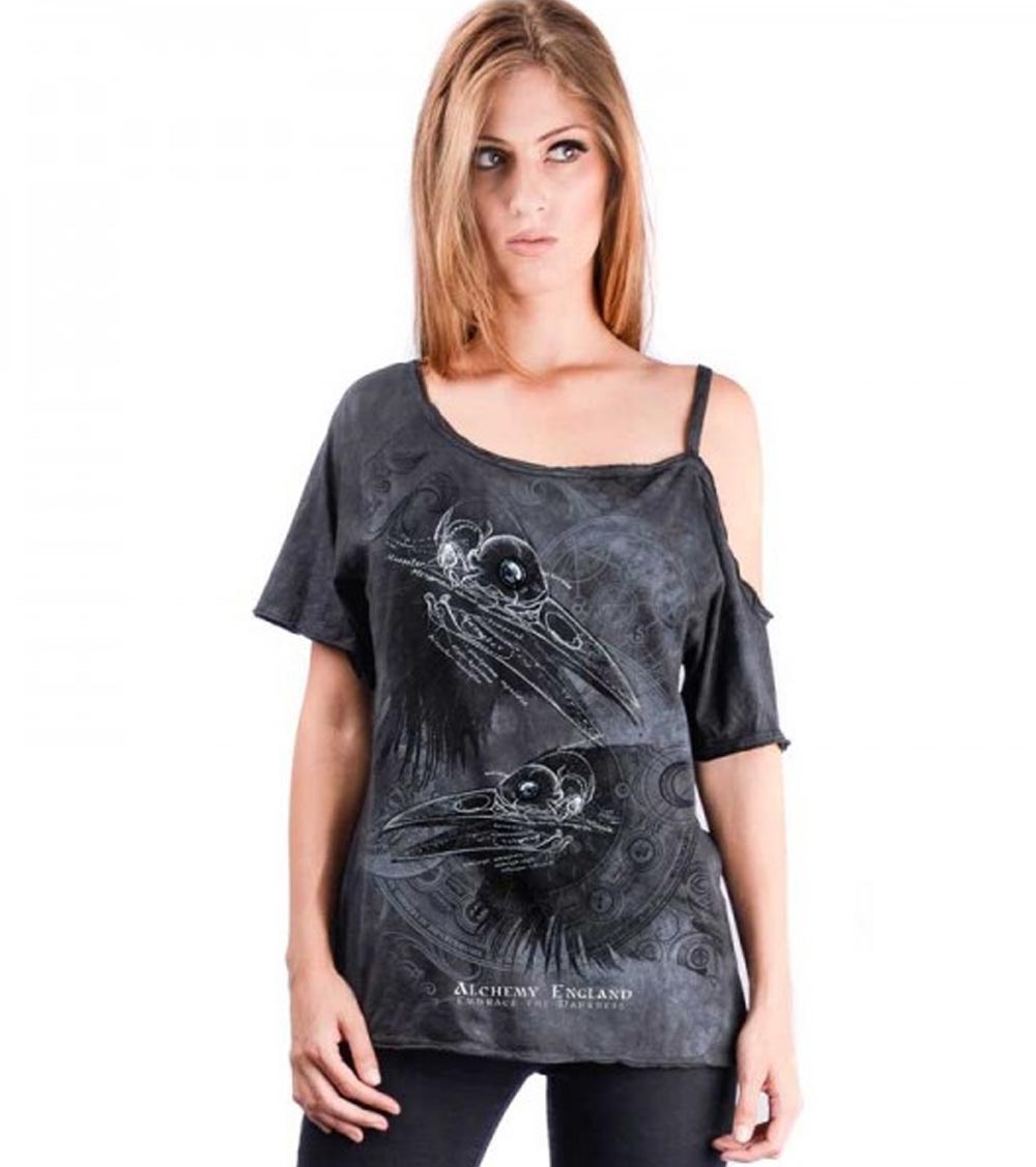 ALCHEMY-England-Ladies-T-Shirt-Top-Gothic-039-Eye-For-An-Eye-039-Crow-Skull-All-Sizes thumbnail 3