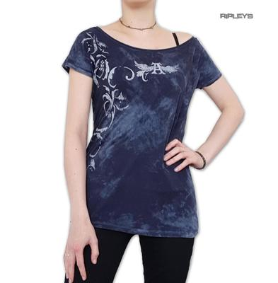 ALCHEMY England Ladies TShirt Top Vintage Distressed 'Deco Skull' Blue All Sizes