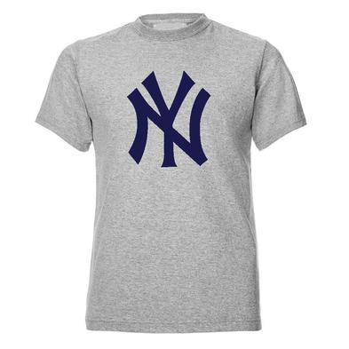 Official T Shirt Heather Grey NEW YORK Yankees American Baseball Logo