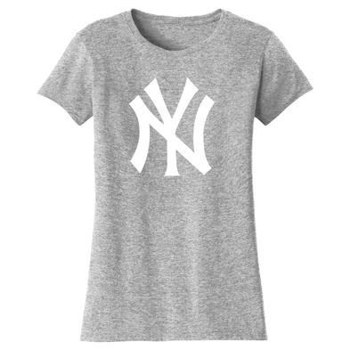 Official Ladies T Shirt NEW YORK Yankees American Baseball Grey Logo
