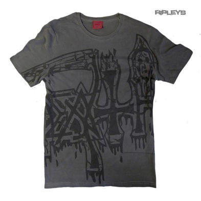 Official T Shirt Grey DEATH Metal Distressed Vintage 'Black' Sub Logo