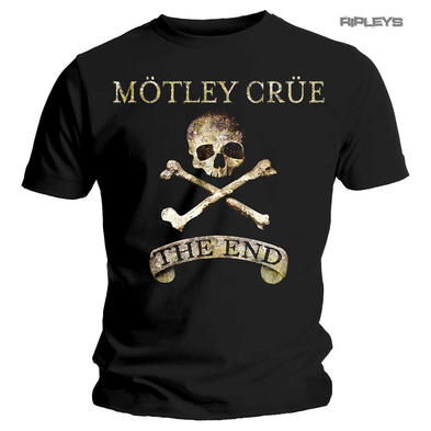 Official Metal T Shirt MOTLEY CRUE Skull & Crossbones 'The End' All Sizes