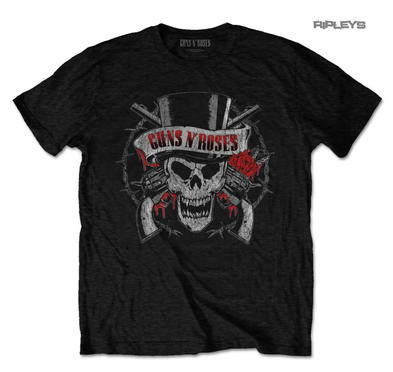 Official T Shirt Guns n Roses 'Distressed SKULL' Red Tophat All Sizes