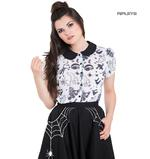 Hell Bunny Shirt Top Halloween Ghost Witch SPOOKY Gothic White Blouse All Sizes Thumbnail 1