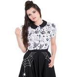 Hell Bunny Shirt Top Halloween Ghost Witch SPOOKY Gothic White Blouse All Sizes Thumbnail 2
