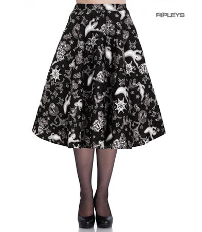 Hell Bunny Pin Up 50s Skirt Halloween Ghosts Witch SPOOKY Gothic Black All Sizes Preview
