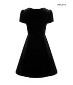 Hell Bunny 40s 50s Elegant Pin Up Dress JOANNE Crushed Velvet Black All Sizes Thumbnail 5