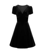 Hell Bunny 40s 50s Elegant Pin Up Dress JOANNE Crushed Velvet Black All Sizes Thumbnail 4