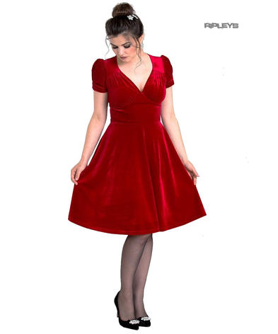 Hell Bunny 40s 50s Elegant Pin Up Dress JOANNE Crushed Velvet Red All Sizes