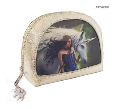 ANNE STOKES 3D Unicorn Oval MAKEUP Clutch Bag Silver PVC 'Enchanted Pool' #1