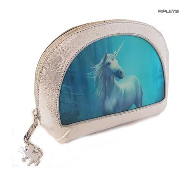 ANNE STOKES 3D Unicorn Oval MAKEUP Clutch Bag Silver PVC 'Forest Unicorn' #2
