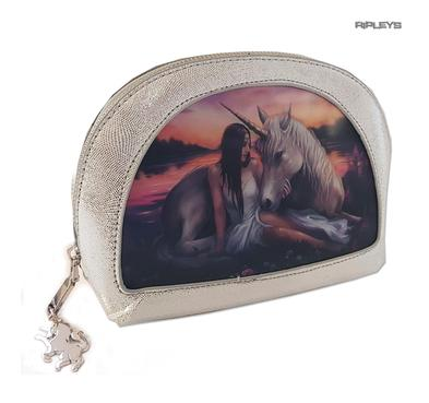 ANNE STOKES 3D Unicorn Oval MAKEUP Clutch Bag Silver PVC 'Pure Heart' #3