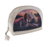 ANNE STOKES 3D Unicorn Oval MAKEUP Clutch Bag Silver PVC 'Pure Heart' #3 Thumbnail 2