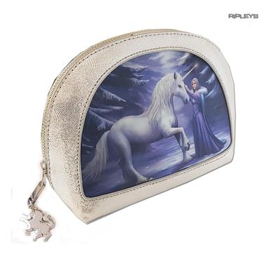 ANNE STOKES 3D Unicorn Oval MAKEUP Clutch Bag Silver PVC 'Pure Magic' #4