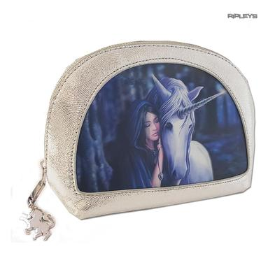 ANNE STOKES 3D Unicorn Oval MAKEUP Clutch Bag Silver PVC 'Solace' #5