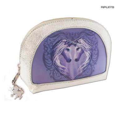 ANNE STOKES 3D Unicorn Oval MAKEUP Clutch Bag Silver PVC 'Unicorn Heart' #6