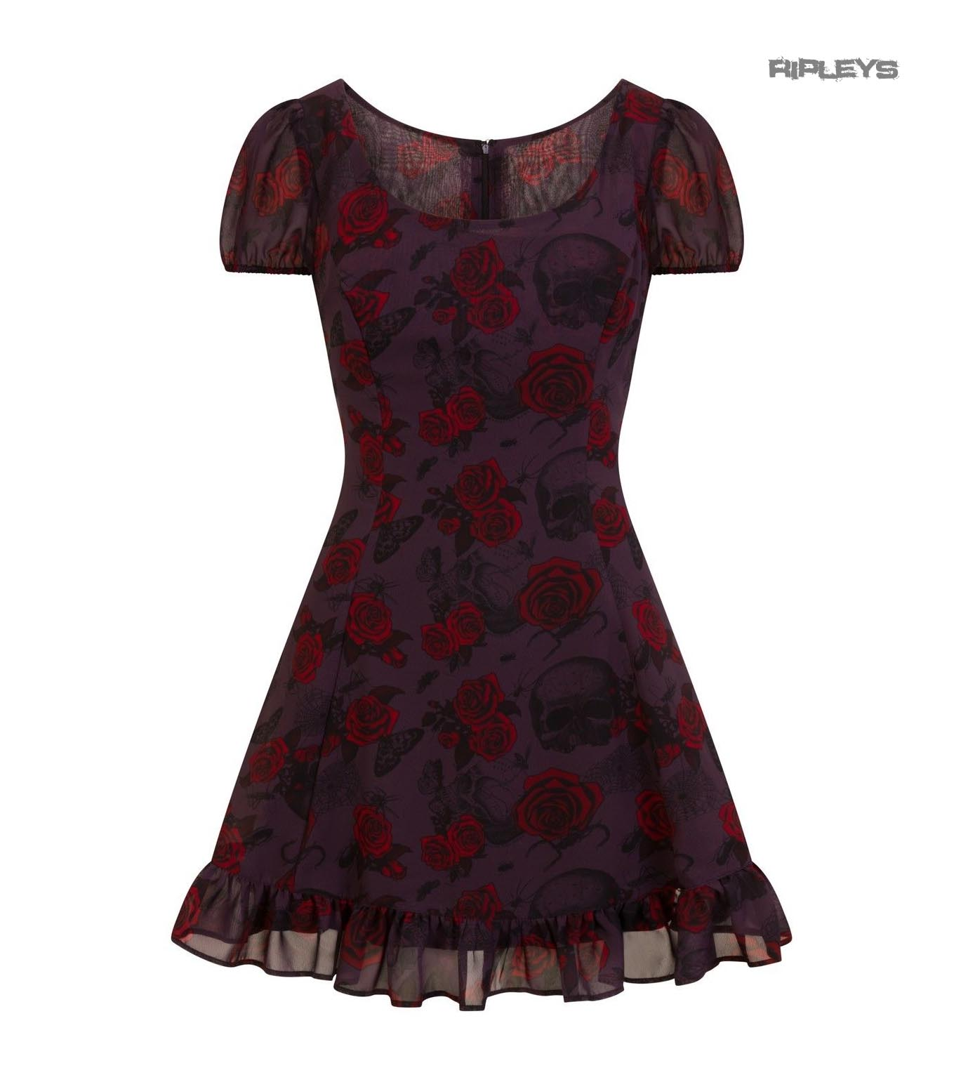 Hell-Bunny-Goth-Floaty-Mini-Dress-BUGS-amp-ROSES-Skulls-Butterfly-Purple-All-Sizes thumbnail 16