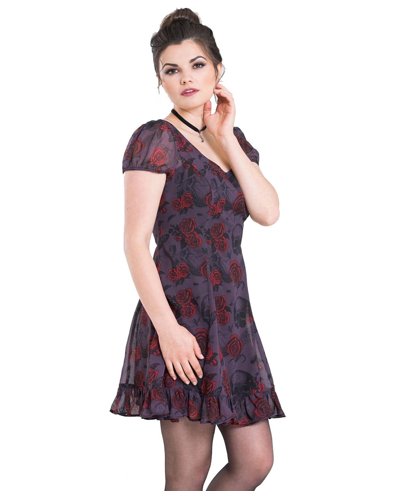 Hell-Bunny-Goth-Floaty-Mini-Dress-BUGS-amp-ROSES-Skulls-Butterfly-Purple-All-Sizes thumbnail 9