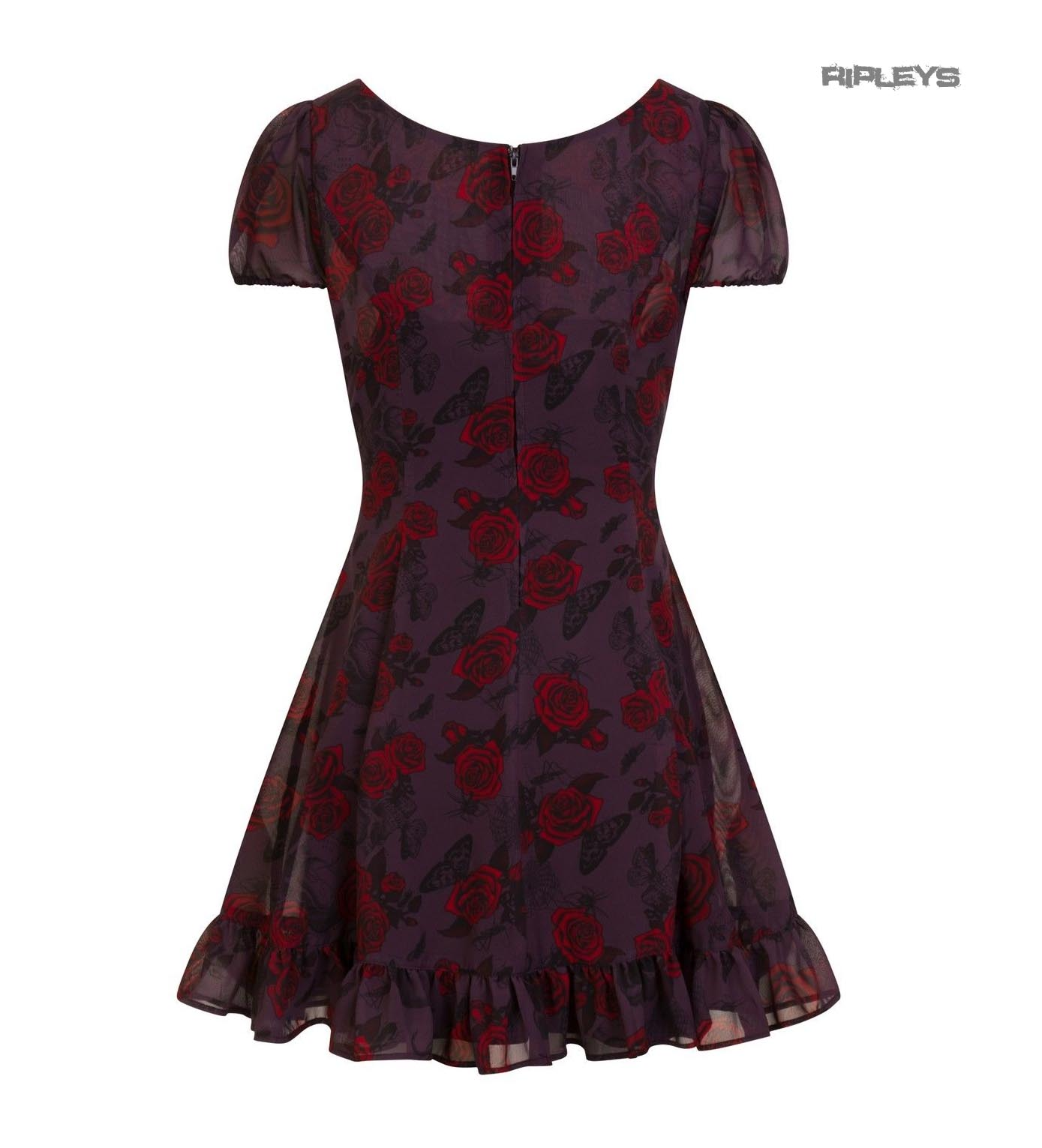 Hell-Bunny-Goth-Floaty-Mini-Dress-BUGS-amp-ROSES-Skulls-Butterfly-Purple-All-Sizes thumbnail 6