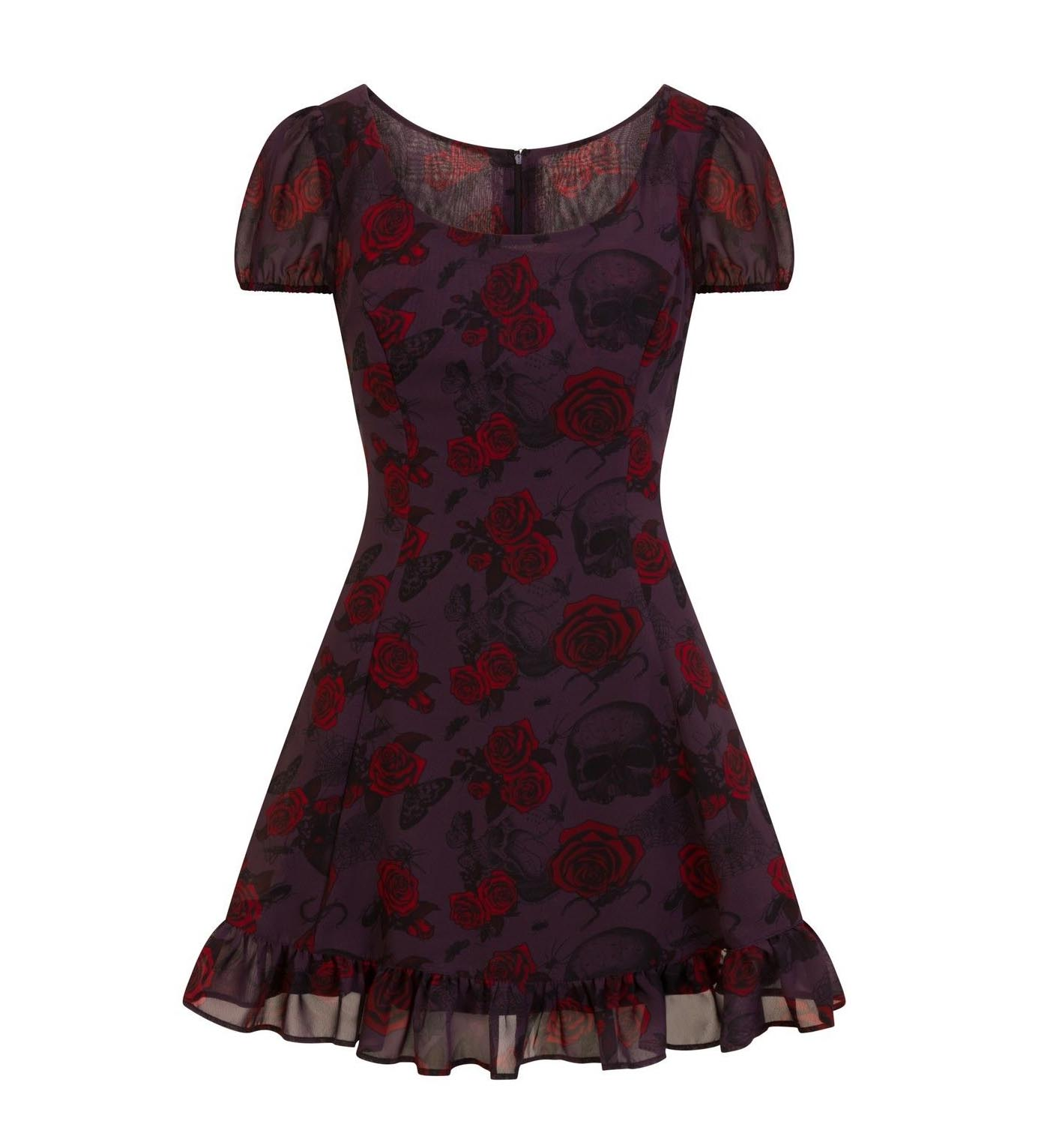Hell-Bunny-Goth-Floaty-Mini-Dress-BUGS-amp-ROSES-Skulls-Butterfly-Purple-All-Sizes thumbnail 5