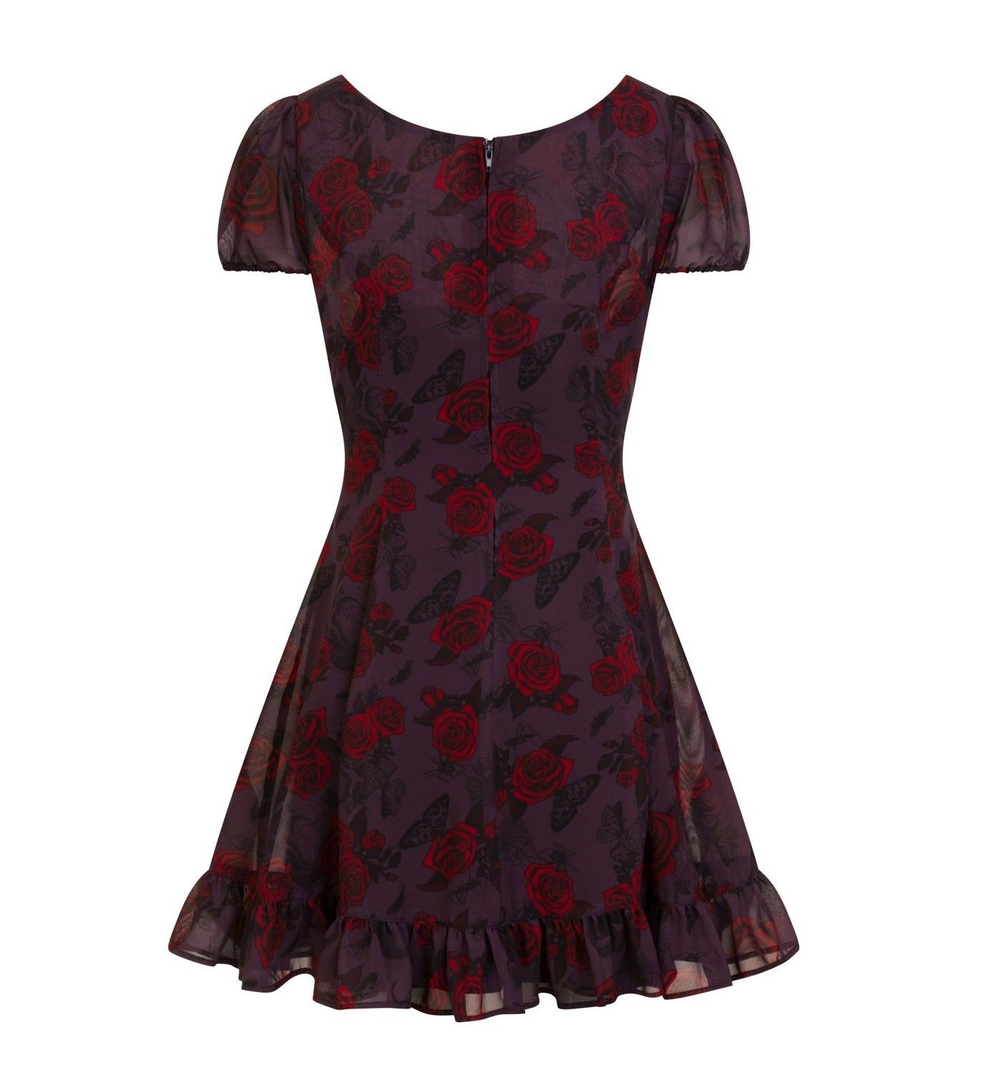 Hell-Bunny-Goth-Floaty-Mini-Dress-BUGS-amp-ROSES-Skulls-Butterfly-Purple-All-Sizes thumbnail 7