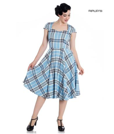 Hell Bunny Pinup 50s Dress ABERDEEN Hogmony Sky Blue & White Tartan All Sizes